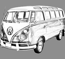 Classic VW 21 window Mini Bus Illustration by KWJphotoart