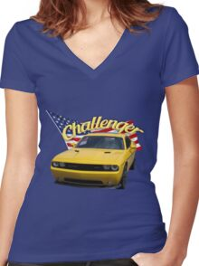 Challenger with American Flag Women's Fitted V-Neck T-Shirt
