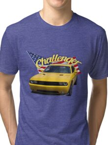 Challenger with American Flag Tri-blend T-Shirt