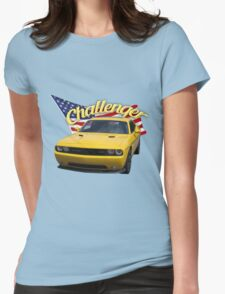 Challenger with American Flag Womens Fitted T-Shirt