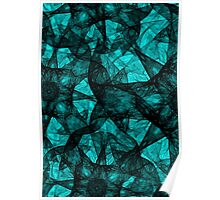 Fractal art black and turquoise Poster