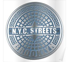 Manhole Covers Brooklyn Blue Poster