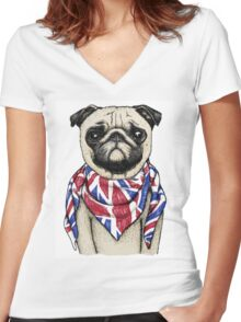 BRITISH PUG Women's Fitted V-Neck T-Shirt
