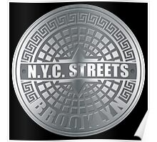 Manhole Covers Brooklyn Gray Poster