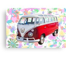 VW 21 window Mini Bus And Hippie Background Canvas Print