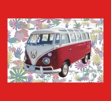 VW 21 window Mini Bus And Hippie Background T-Shirt
