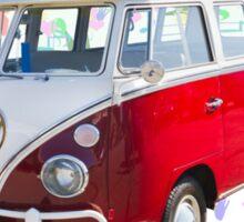 VW 21 window Mini Bus And Hippie Background Sticker