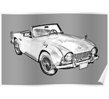Illustration Of Triumph Tr4 Sports Car Poster