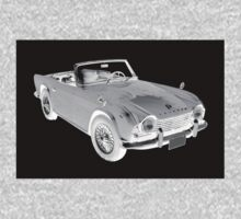 Black And White Triumph Tr4  Sports Car One Piece - Long Sleeve