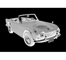 Black And White Triumph Tr4  Sports Car Photographic Print