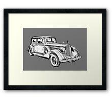 Packard Luxury Antique Car Illustration Framed Print