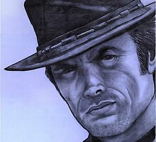 Clint Eastwood celebrity portrait 130 views by Margaret Sanderson