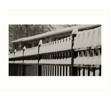 Snow on the fence 2 Art Print