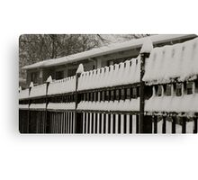 Snow on the fence 2 Canvas Print