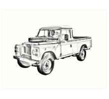 1971 Land Rover Pick up Truck Drawing Art Print