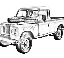 1971 Land Rover Pick up Truck Drawing by KWJphotoart
