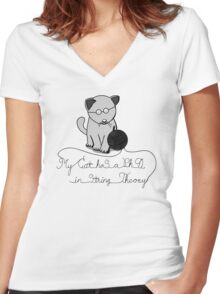 My Cat Has A Ph.D in String Theory Women's Fitted V-Neck T-Shirt