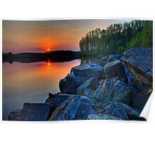 Sun Setting on a Lake Poster