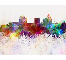 Greensboro skyline in watercolor background Photographic Print