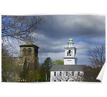 Steeples in Plymouth Mass Poster