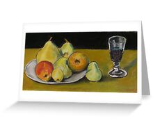 Red wine and fruit Greeting Card