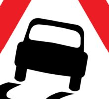 Slippery Road Warning Triangle Road Sign Sticker