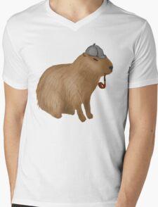 Sherlock capybara Mens V-Neck T-Shirt