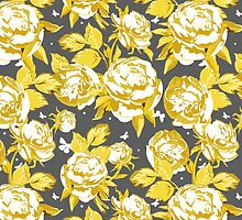 Abstract gold white gray floral pattern  by Maria Fernandes