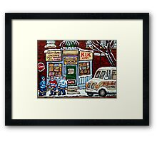 HOCKEY ART PAINTINGS MONTREAL DEPANNEUR BEST CANADIAN PAINTINGS Framed Print