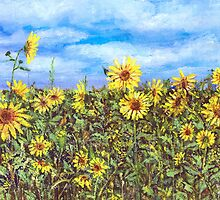 Field Of Sunflowers by arline wagner