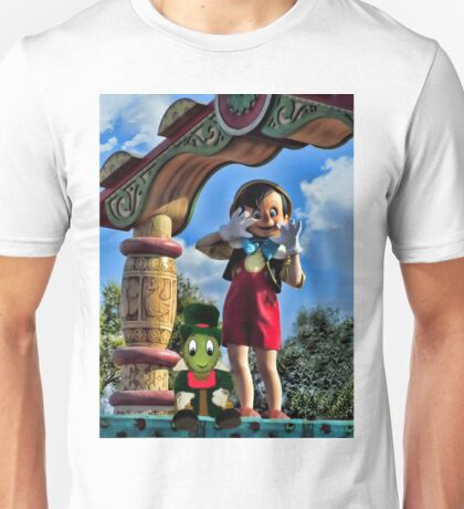 PINOCCHIO AND JIMMY CRICKET (VERSION THREE)(A FAVORITE MEMORY OF MINE) PICTURES-CARDS-PILLOWS-TOTE BAGS-ECT.. Unisex T-Shirt