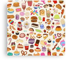 Cute Pixel Junk Food Canvas Print