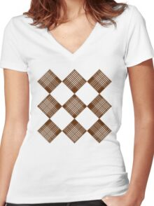 Brown Checks Women's Fitted V-Neck T-Shirt