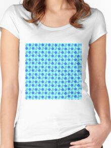 Bright Blue Flowers & Spring Butterflies Women's Fitted Scoop T-Shirt