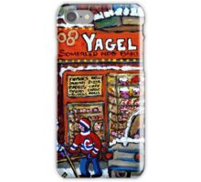 BEST MONTREAL ART WINTER SCENE WITH BOYS PLAYING HOCKEY  iPhone Case/Skin
