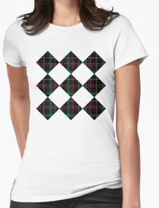 Black Plaid Womens Fitted T-Shirt