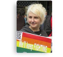 Protestor at Gay Rally Canvas Print
