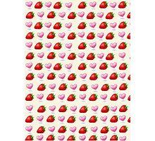 Summer Strawberries & Pastel Hearts Photographic Print