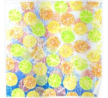 Abstract Frozen Citrus Fruit Poster