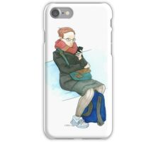 Woman on the Train with iPhone iPhone Case/Skin