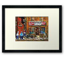 NIGHT SCENE HOCKEY ART PAINTINGS MONTREAL DEPANNEURS BEST CANADIAN ART Framed Print