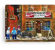 NIGHT SCENE HOCKEY ART PAINTINGS MONTREAL DEPANNEURS BEST CANADIAN ART Canvas Print