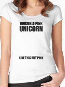 Invisible Pink Unicorn (Invisible) Women's Fitted Scoop T-Shirt