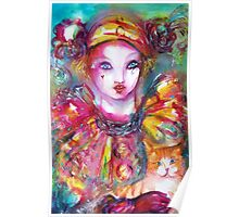 Pierrot with Cat  / Venetian Masquerade Masks Poster