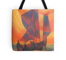 Red Sails in the Sunset Cubist Junk Abstract Tote Bag