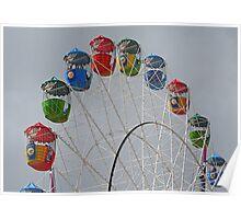 Ferris Wheel Against Grey Sky Poster