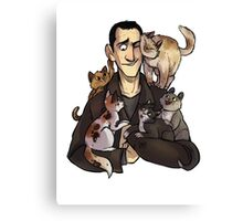 Nine with cats Canvas Print