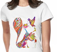 Cat and two butterflies Womens Fitted T-Shirt