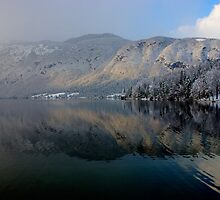 Wintery reflections of Bohinj by Ian Middleton