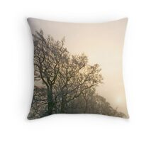 sunsetting over treeline Throw Pillow